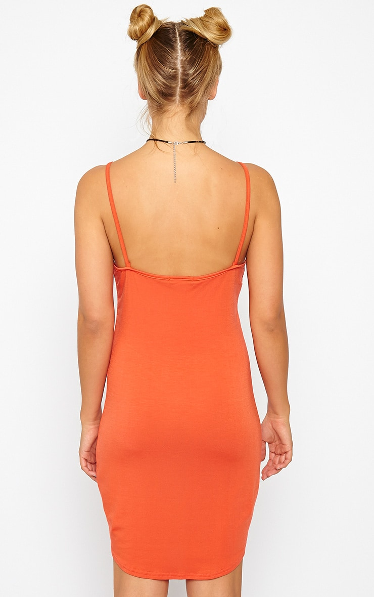 Basic Orange Jersey Mini Dress 2