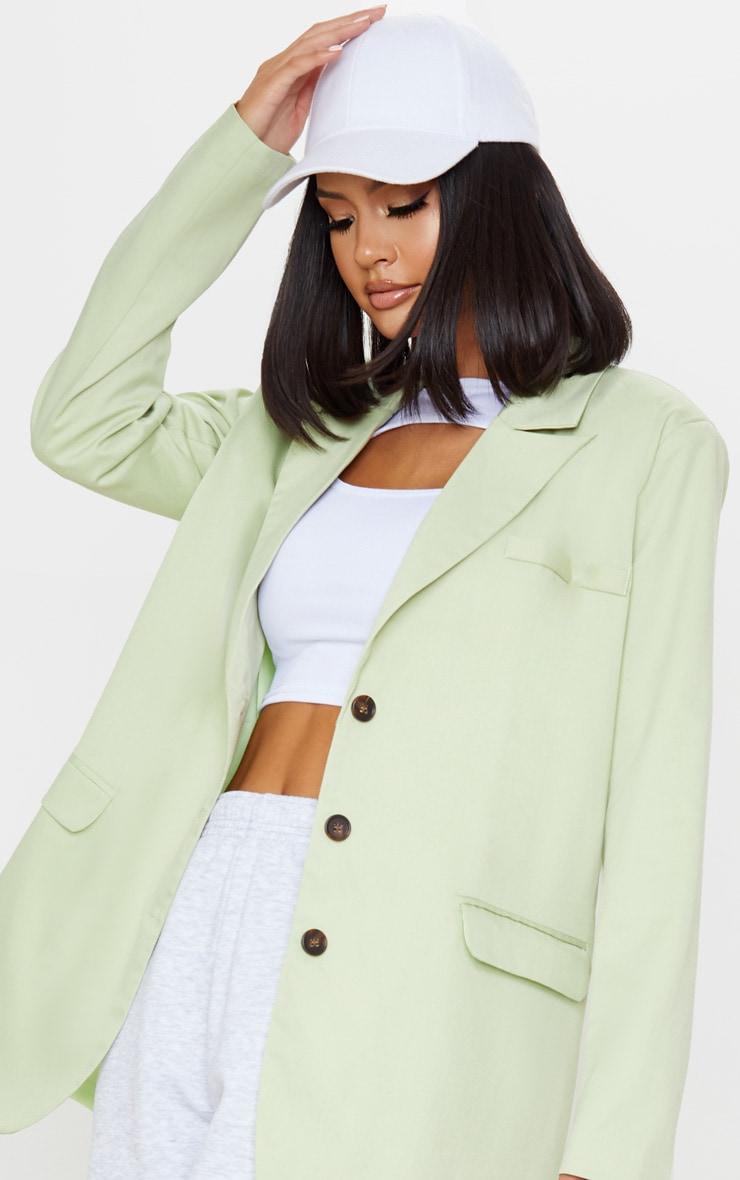 Apple Green Oversized Woven Blazer 5