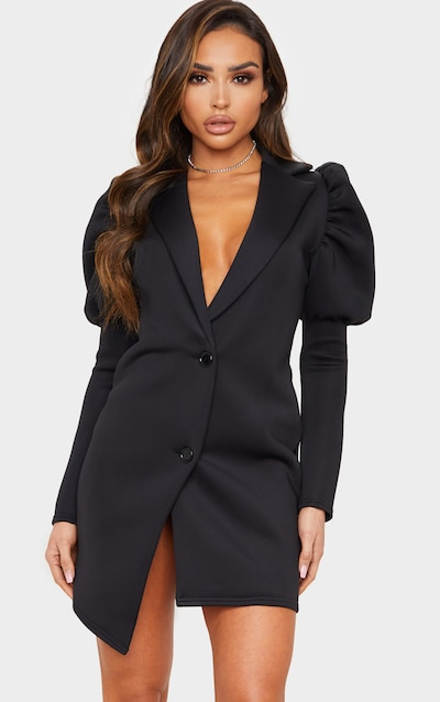 Black Scuba Puff Sleeve Blazer Dress