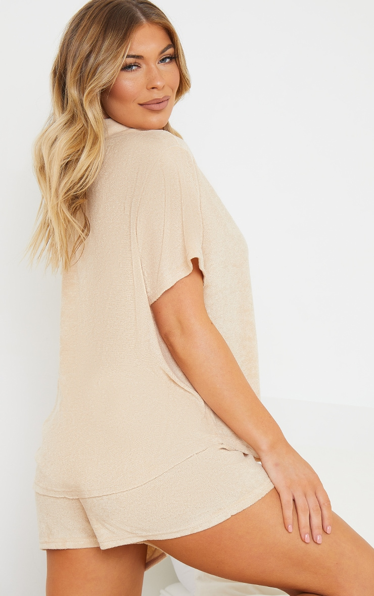 Taupe Towelled Mix And Match Short Sleeve Button Up Lounge Top 2