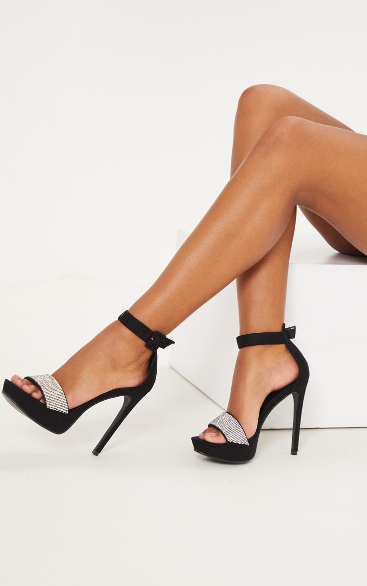 Black Faux Suede Diamante Heeled Sandals