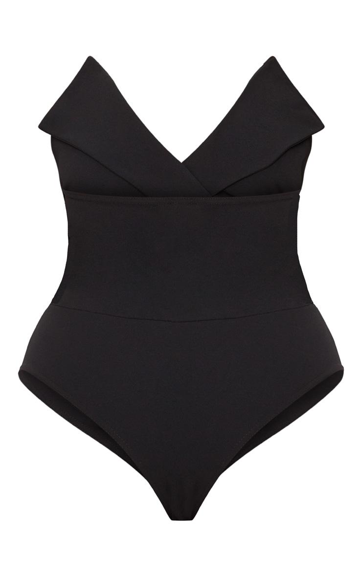 Plus Black Tux Detail Bandeau Thong Bodysuit  4