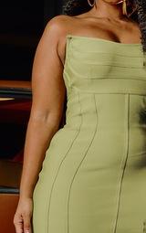 Plus Olive Bandage Pointed Bandeau Panelled Bodycon Dress 3
