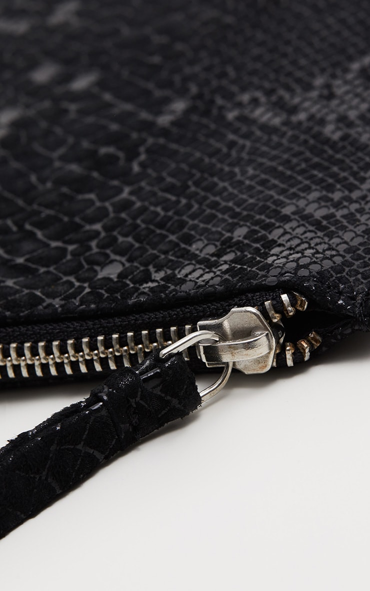 Black Real Leather Croc Clutch Bag 3