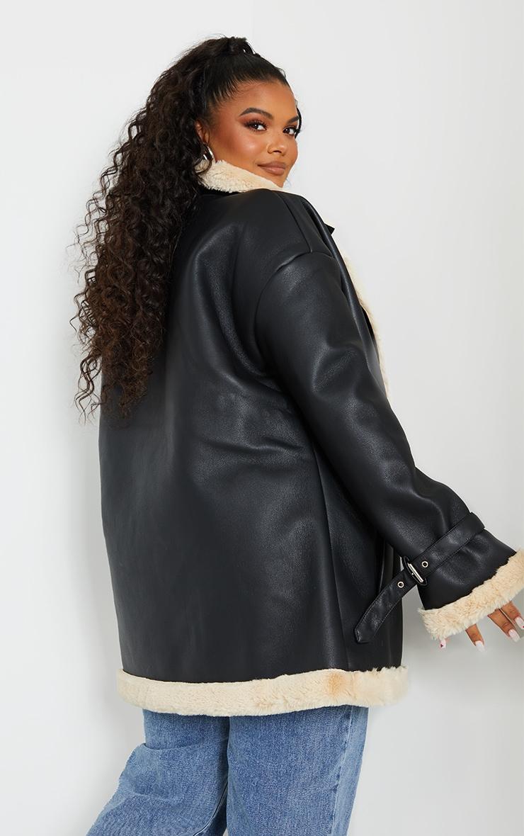 Plus Black PU Faux Fur Trim Vintage Style Coat 2