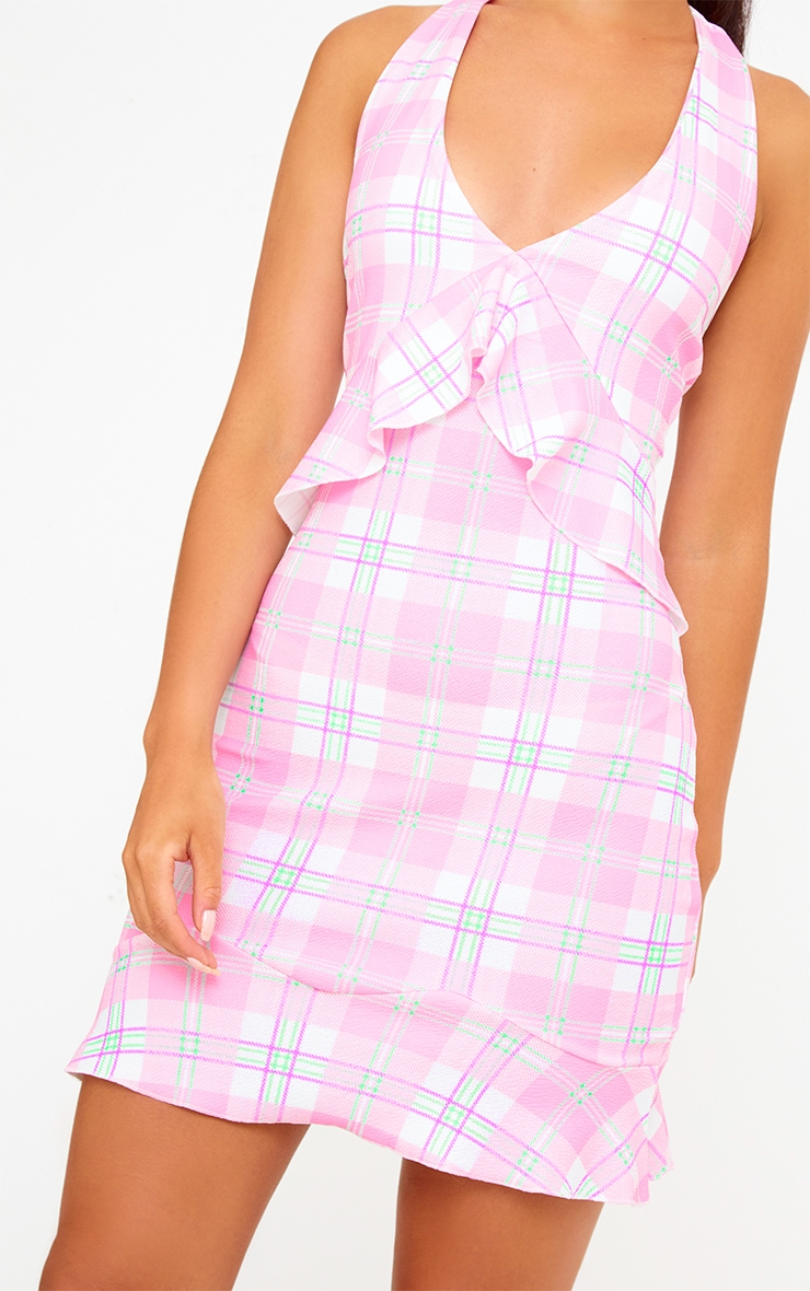 Pink Checked Halterneck Frill Detail Bodycon Dress 4