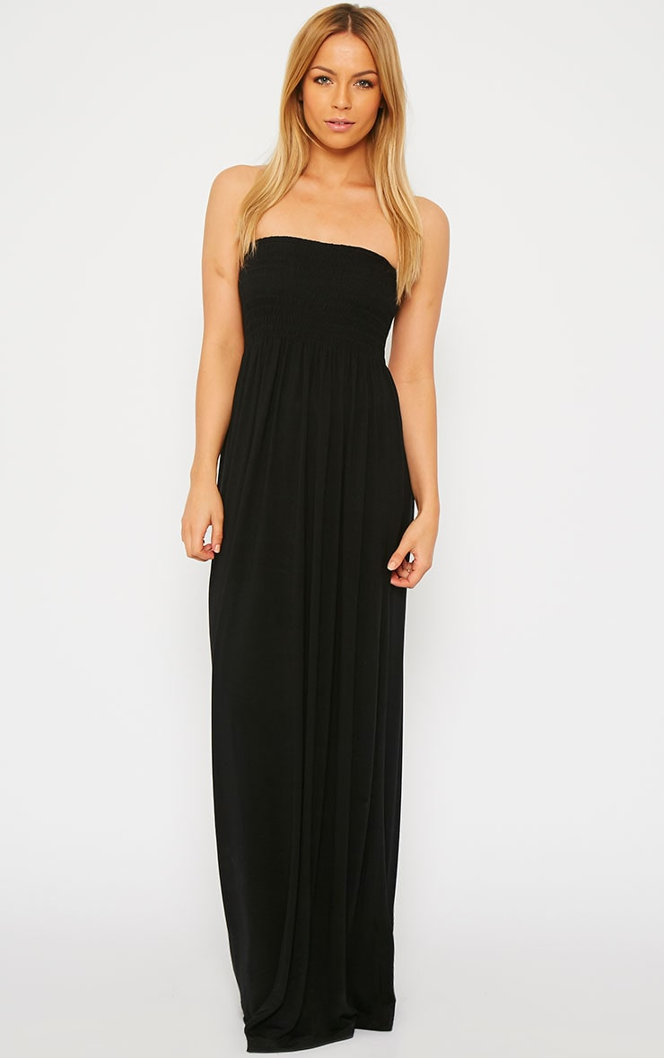 Tamara Black Elasticated Bandeau Jersey Maxi Dress 2