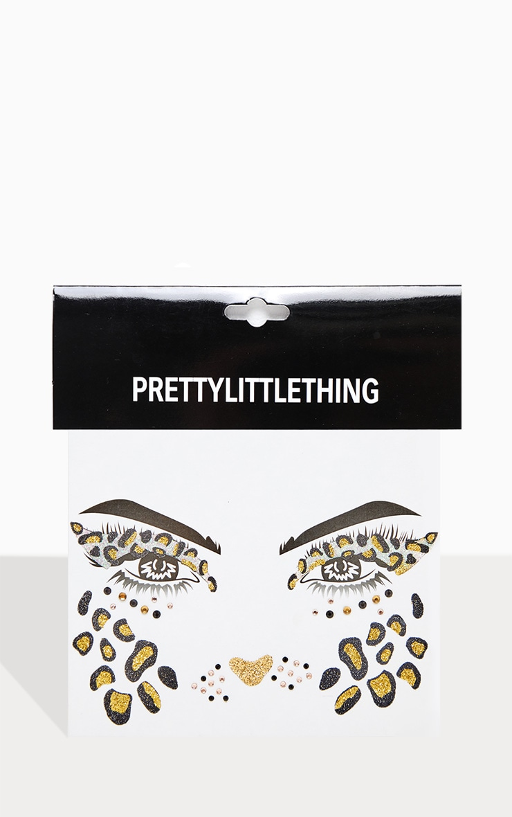 PRETTYLITTLETHING Glitter Rhinestone Leopard Face Sticker 2