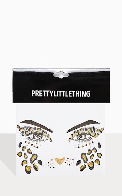 PRETTYLITTLETHING Glitter Rhinestone Leopard Face Sticker