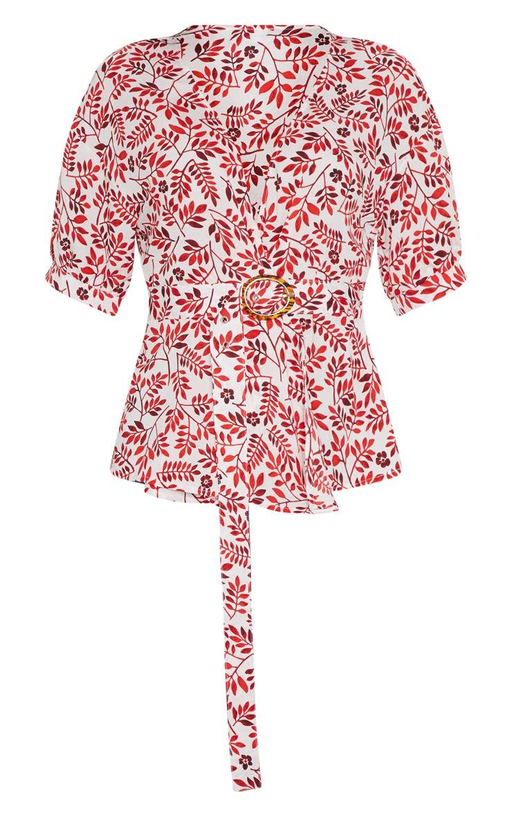 Red Paisley Plunge Belt Detail Bardot Top 3