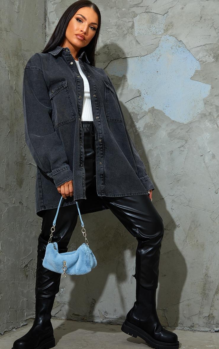Washed Black Oversize Denim Boyfriend Shirt 1