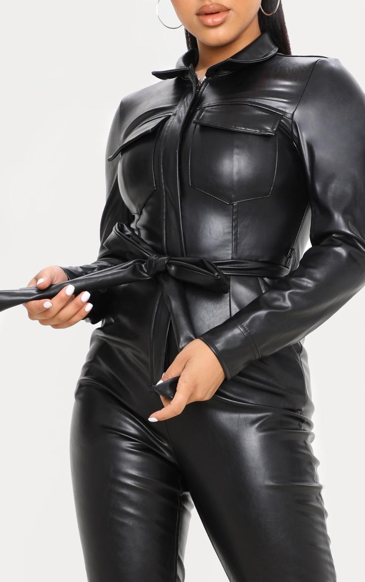 Petite Black PU Boiler Suit 5