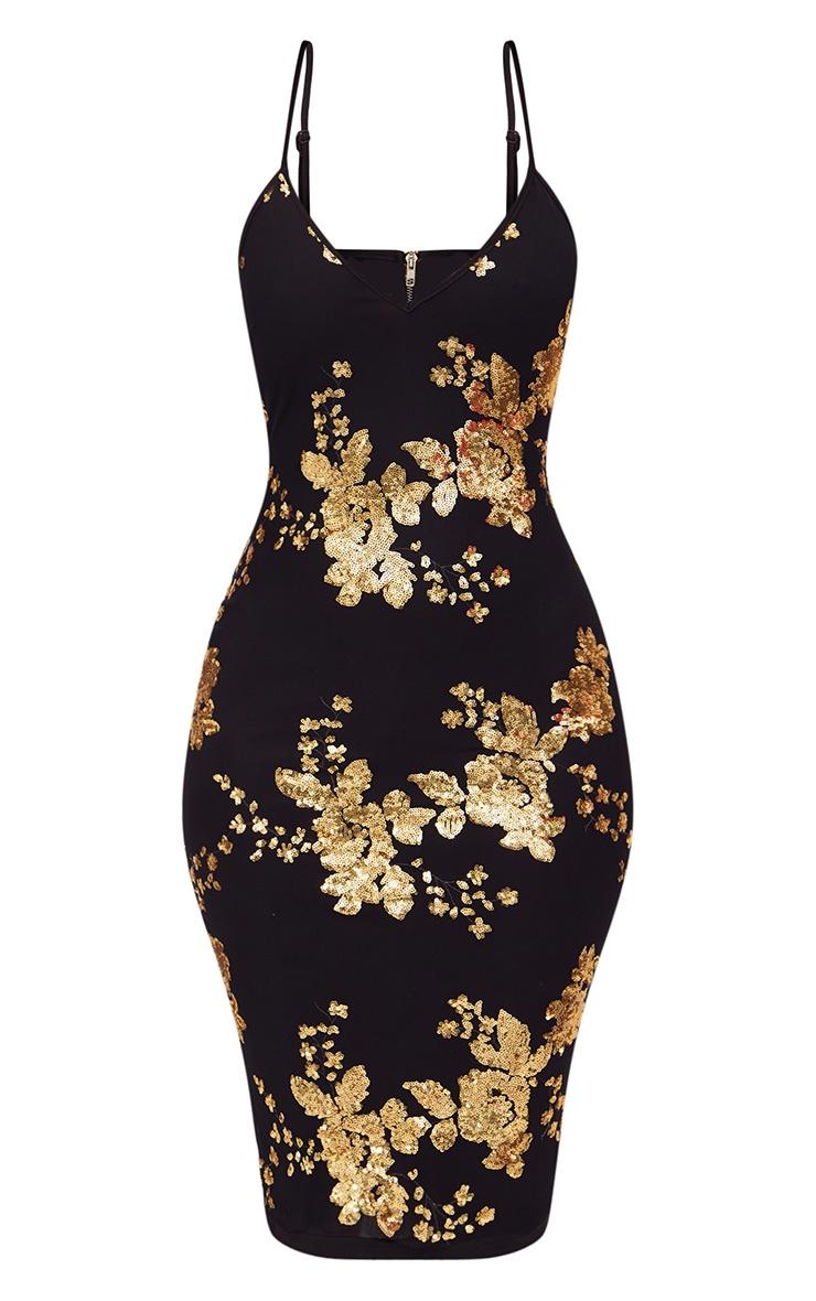 Black Sequin Strappy Plunge Midi Dress 3