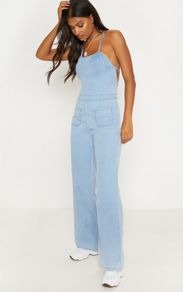 Light Wash 70s Tie Back Jumpsuit  5