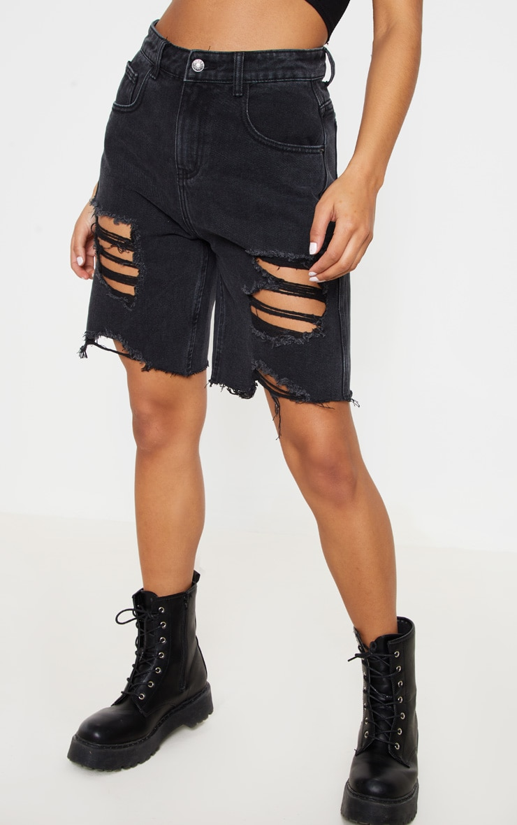 Washed Black Heavy Distressed Mom Shorts  2