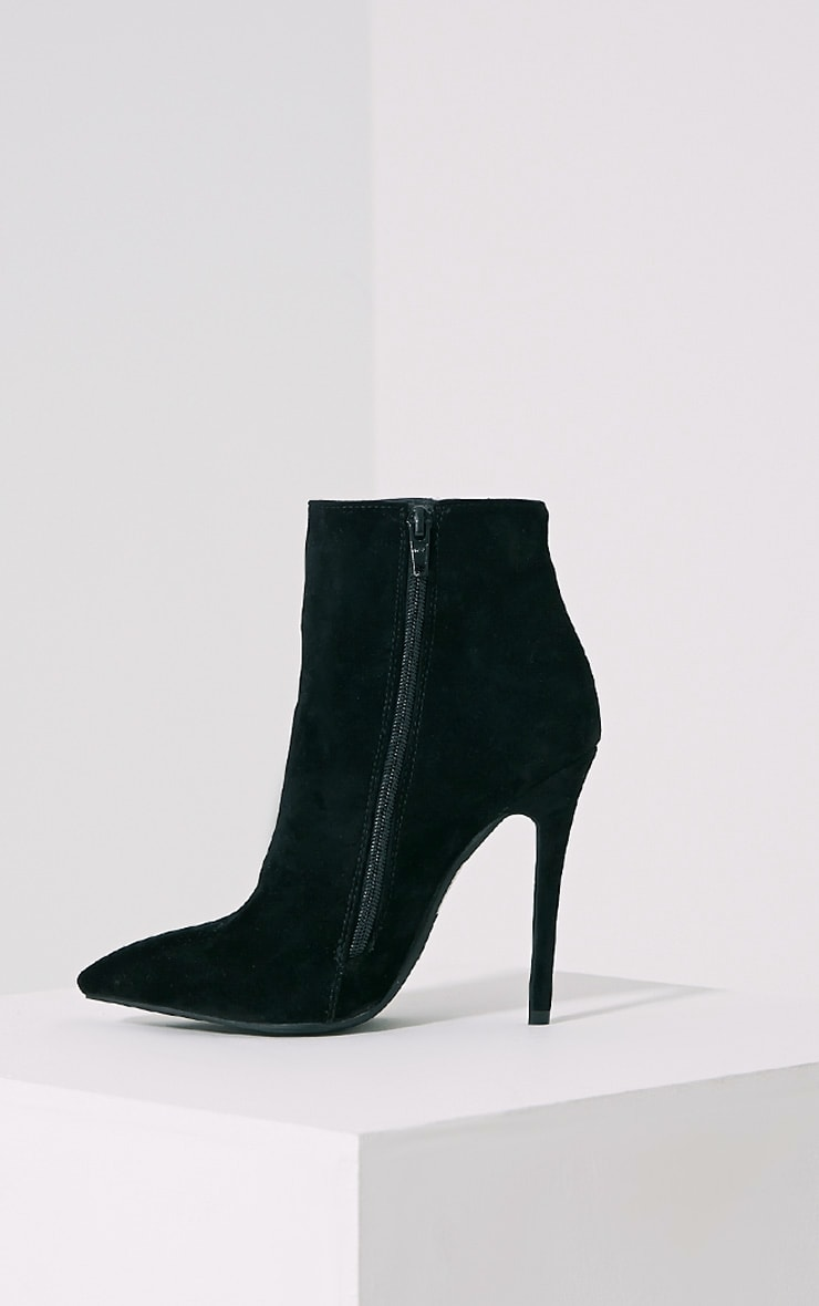 Yeni Black Suede Heeled Ankle Boots 4