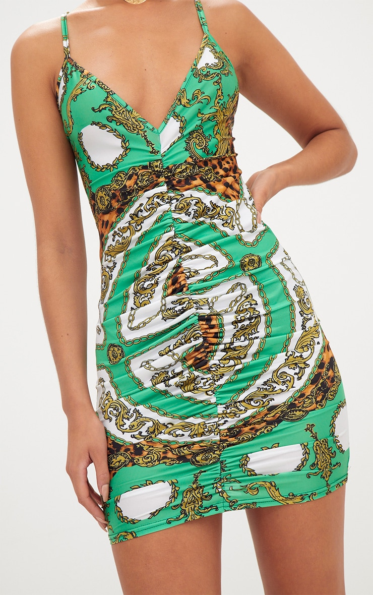 Green Scarf Print Plunge Ruched Front Bodycon Dress 4