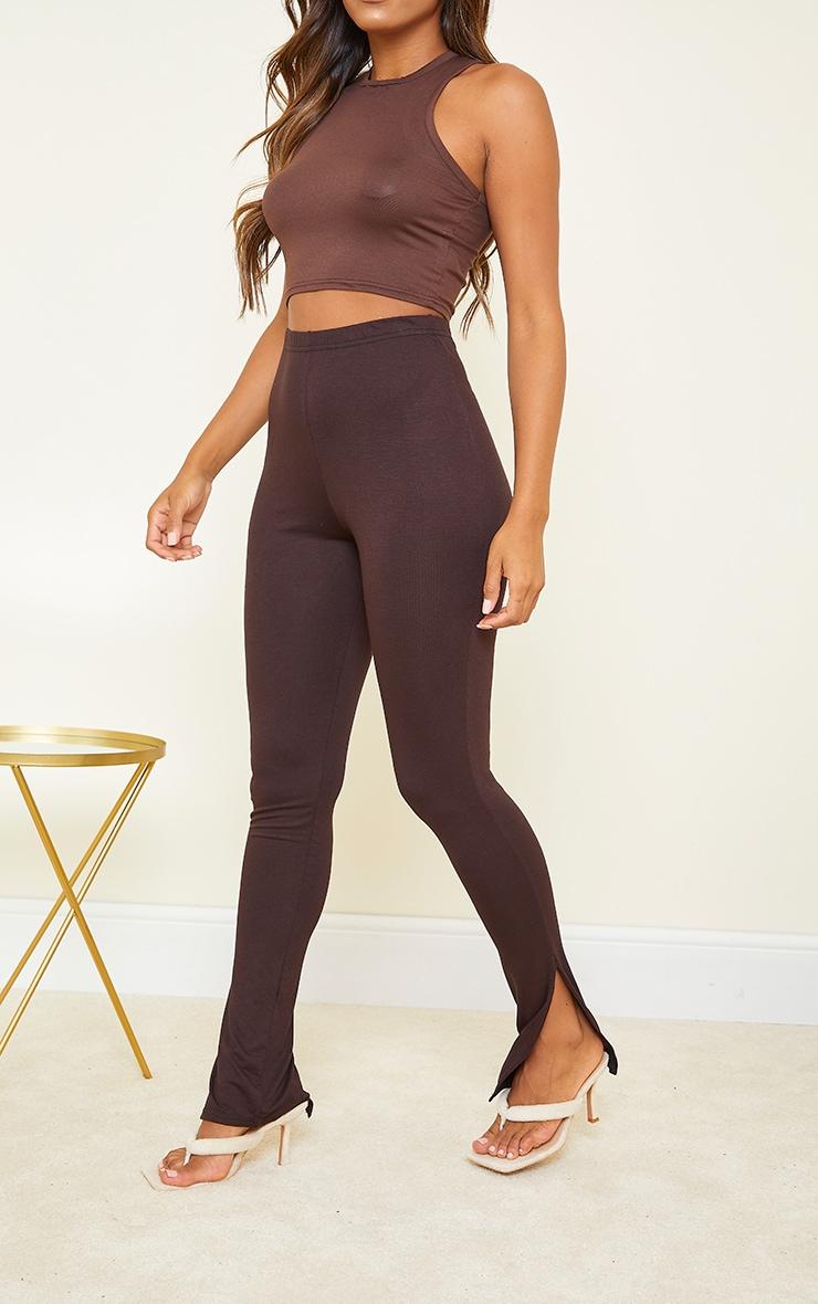 Basic Chocolate Jersey Split Hem Leggings 2