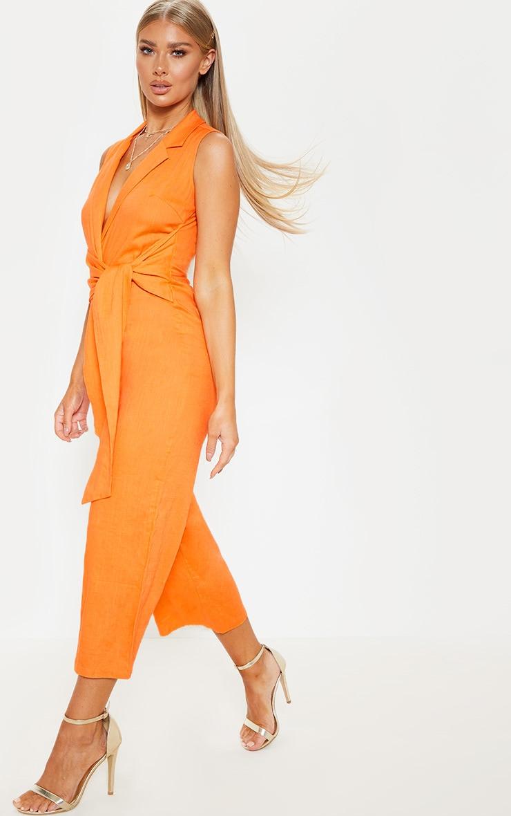 Bright Orange Blazer Style Tie Waist Jumpsuit 4