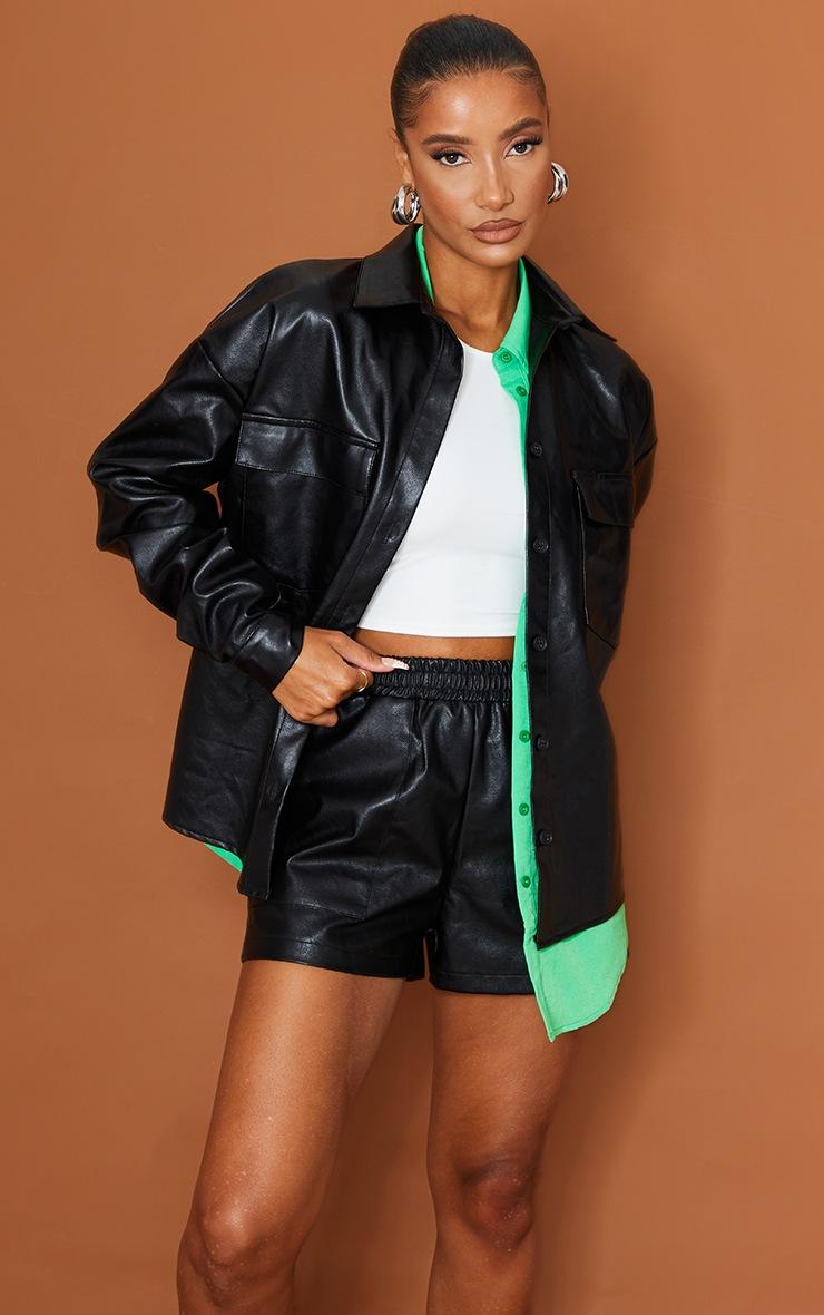 Black Faux Leather Pocket Detail Shirt 3