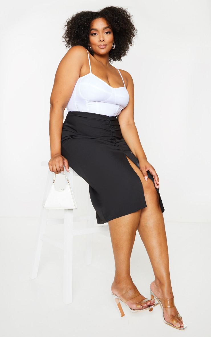 Plus Black Ruched Detail Split Skirt 4