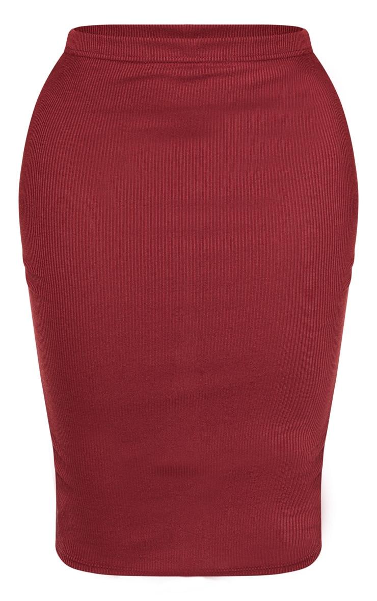 Shape Burgundy Ribbed Basic Midi Skirt 3
