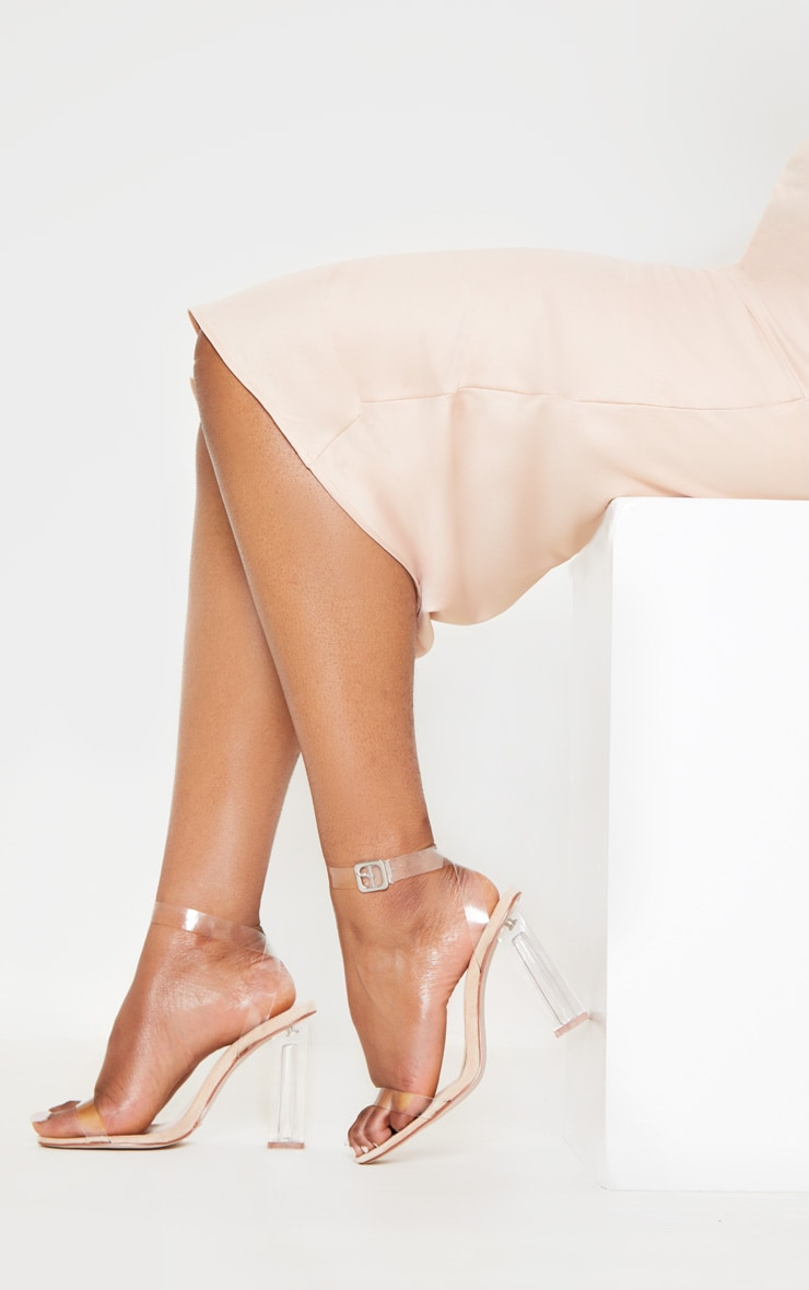 Nude Wide Fit Clear Block Heel Sandal 2