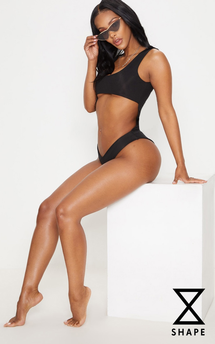 Shape Black Cut Out Front High Leg Swimsuit