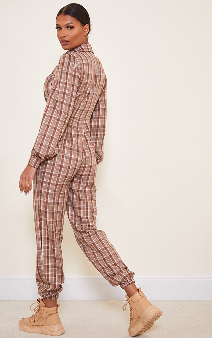 Brown Check Pocket Detail Shirt Jumpsuit 2