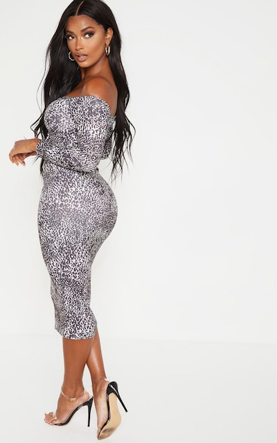 Shape Brown Leopard Print Cut Out Ruched Front Midi Dress