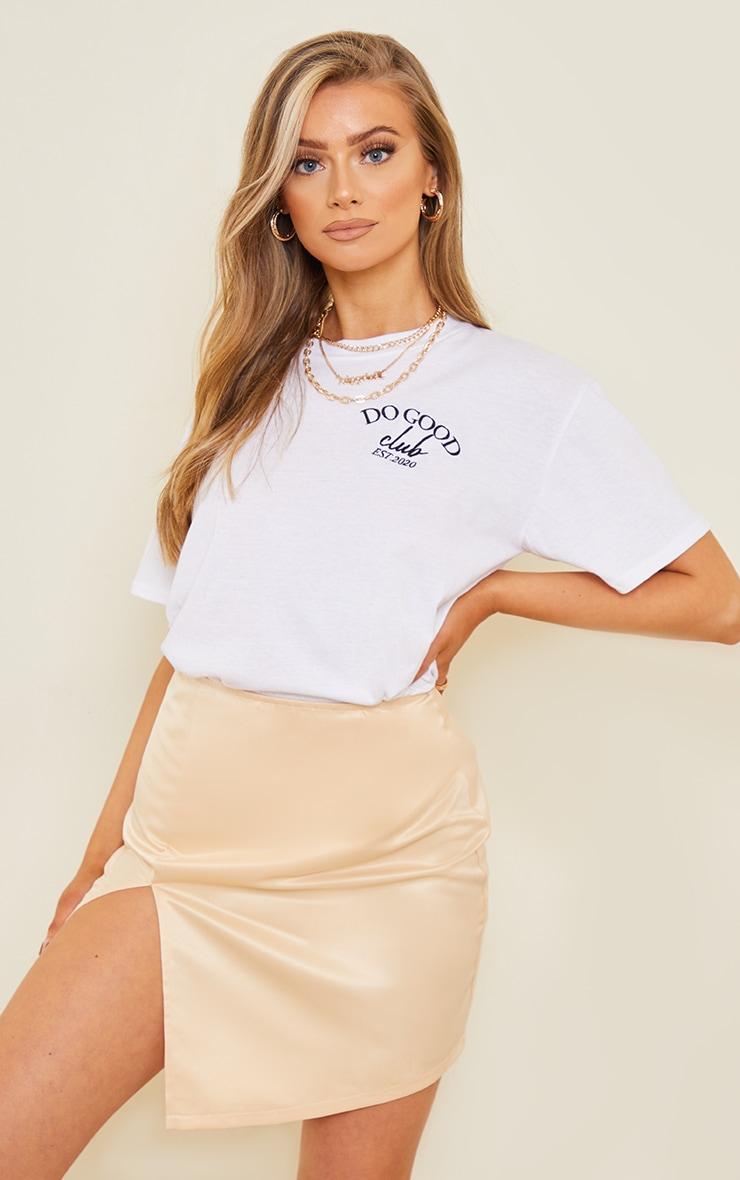 Champagne Tailored Satin Split Front Mini Skirt 4