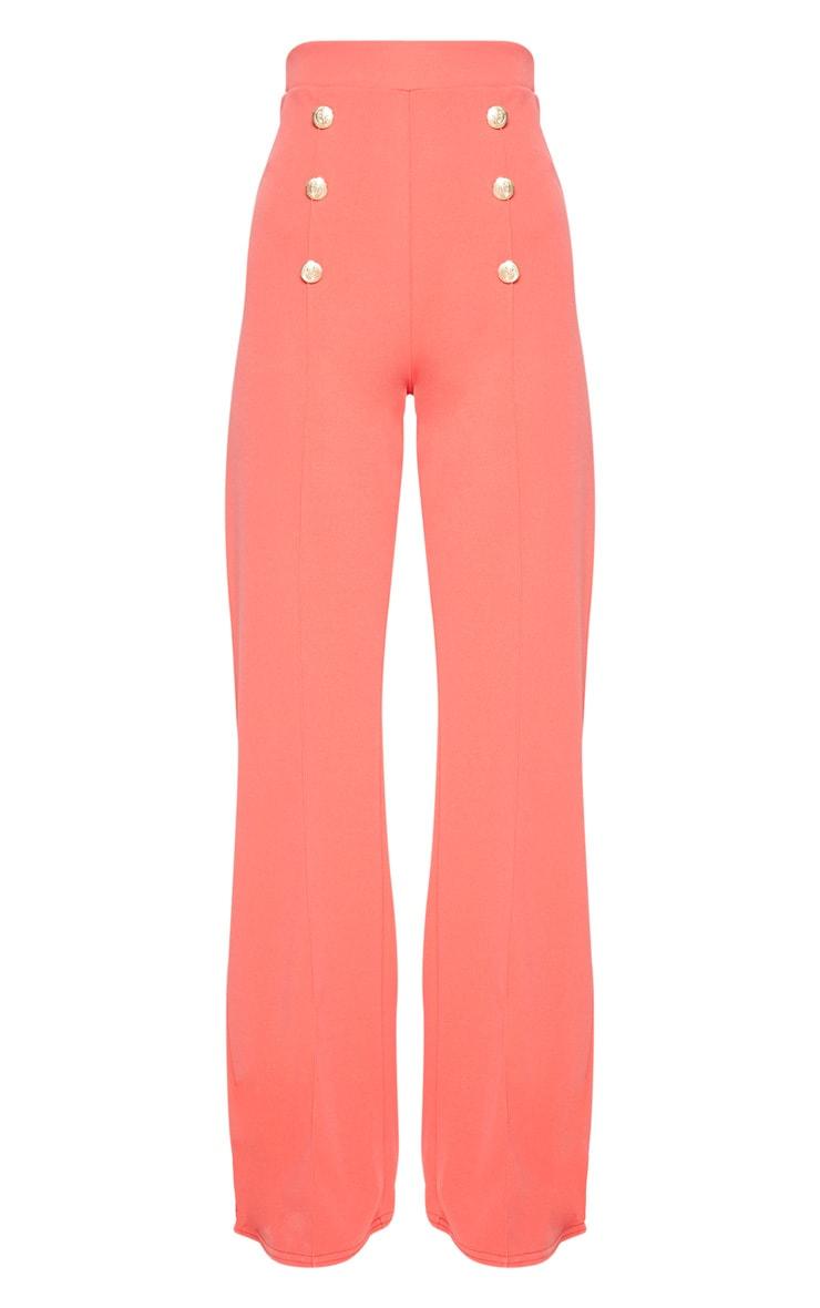 Coral Button Front Wide Leg Trouser 3
