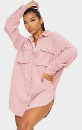 Blush Cord Pocket Detail Shirt Dress 1