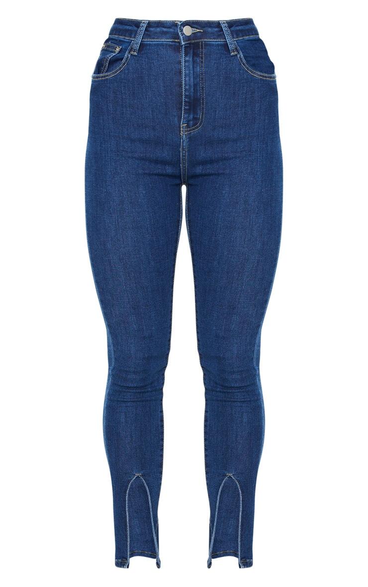 Mid Blue Wash Front Split Hem Skinny Jeans 5