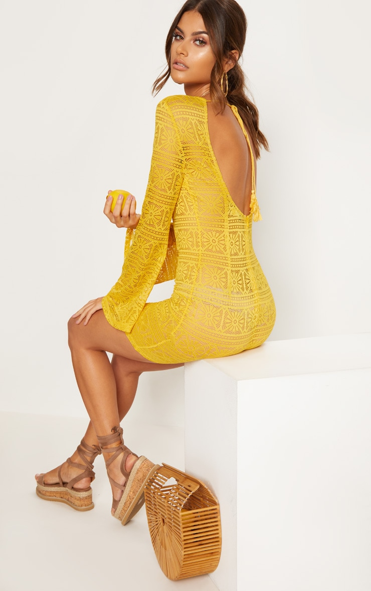 Yellow Tie Back Lace Bodycon Dress 1
