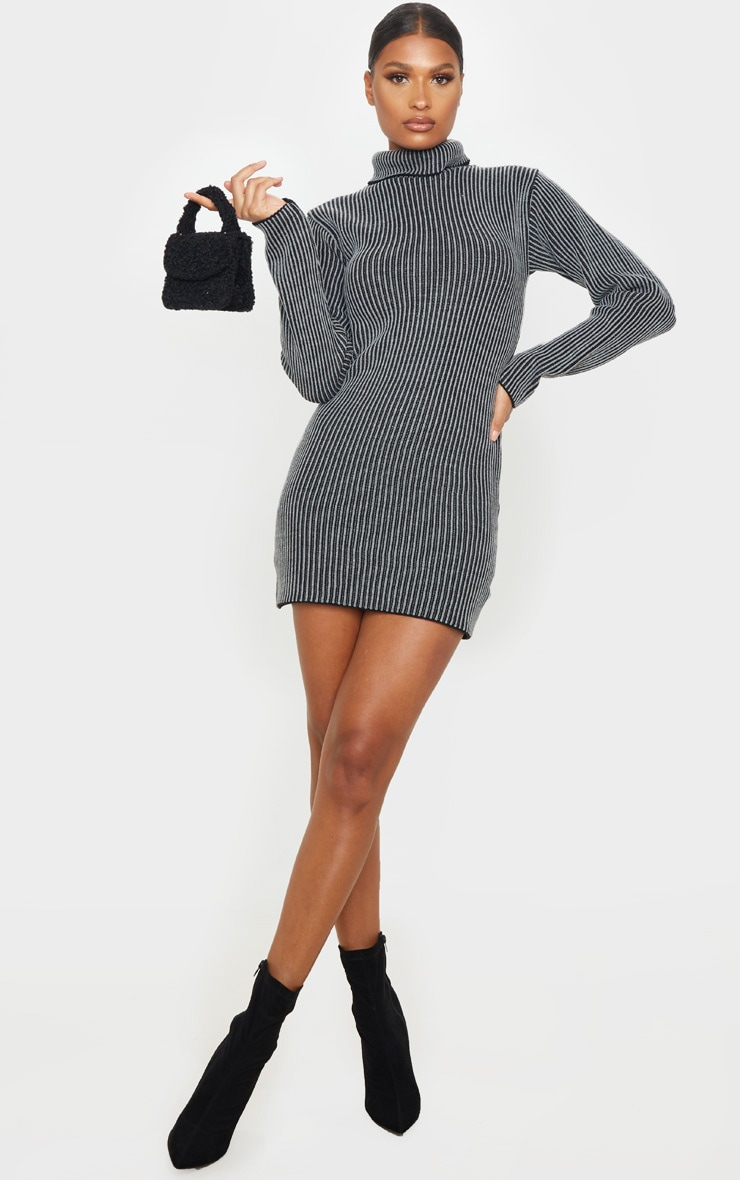 Grey Two Tone Knitted Dress 4
