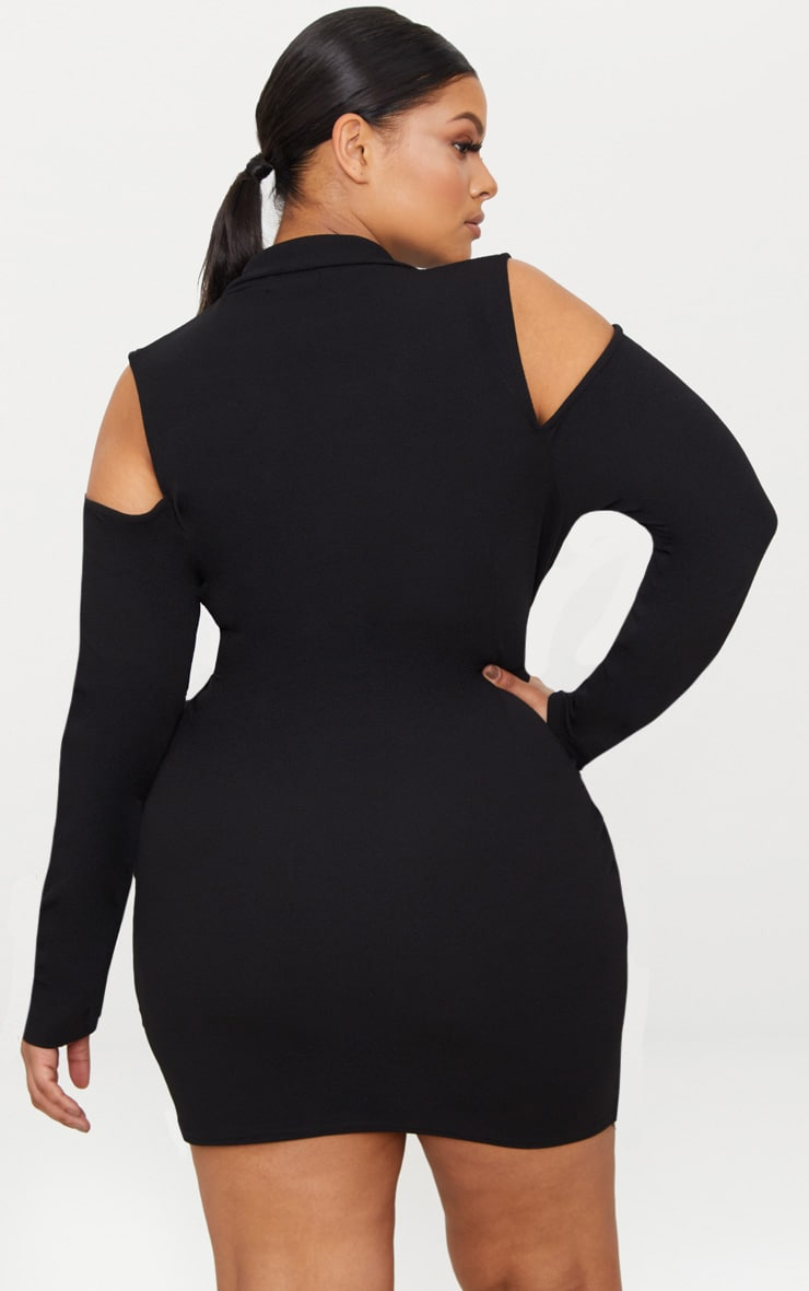 Plus Black Cold Shoulder Ring Detail Blazer Dress 2