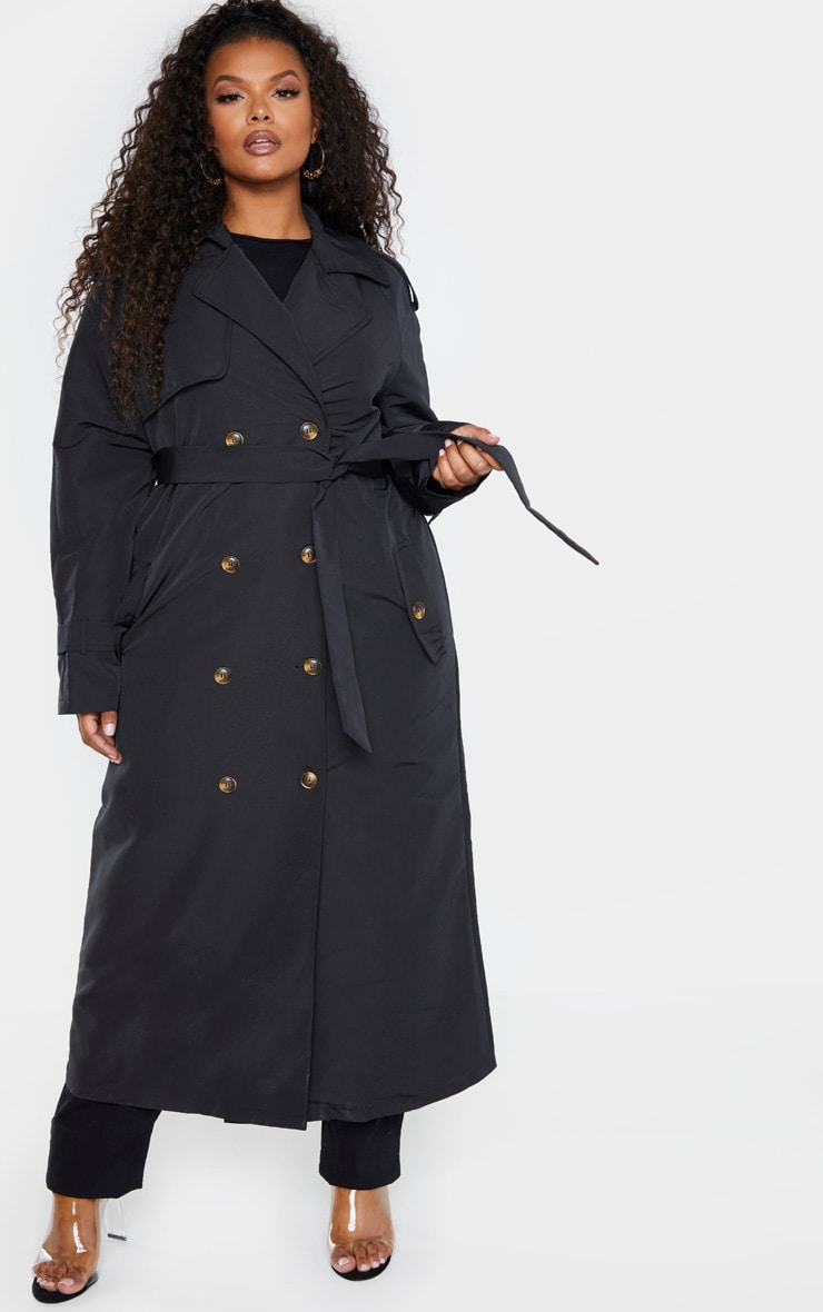 Plus Black Oversized Button Down Trench Coat 1
