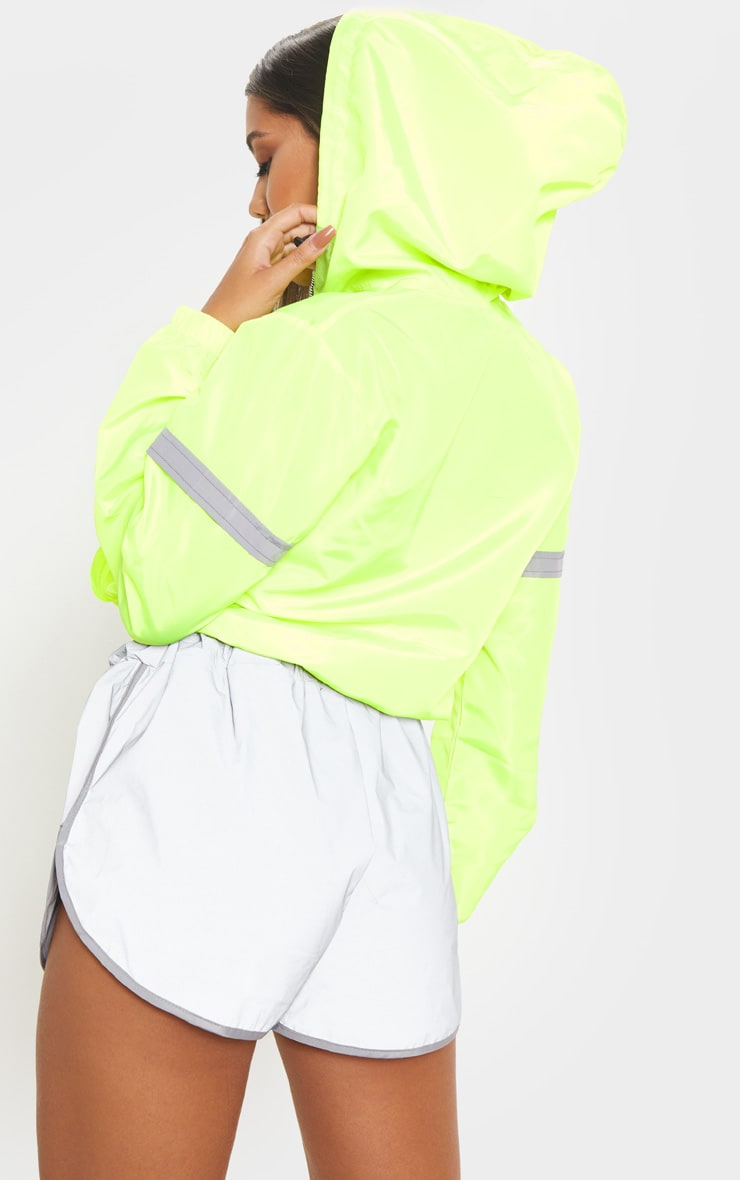 Neon Yellow Shell Reflective Tape Tracksuit Jacket 2