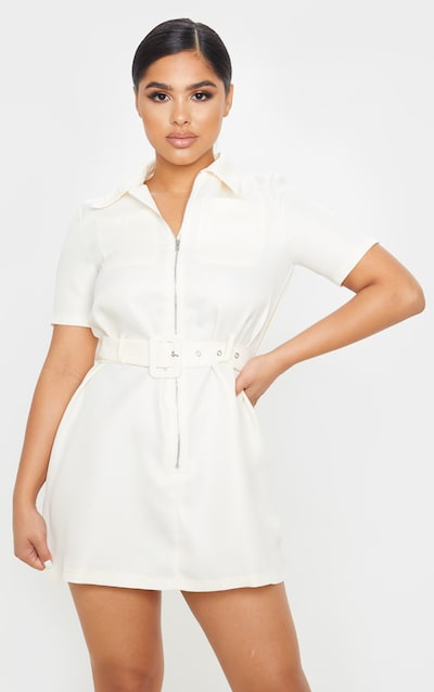 Petite Ecru Zip Detail Belted Utility Dress