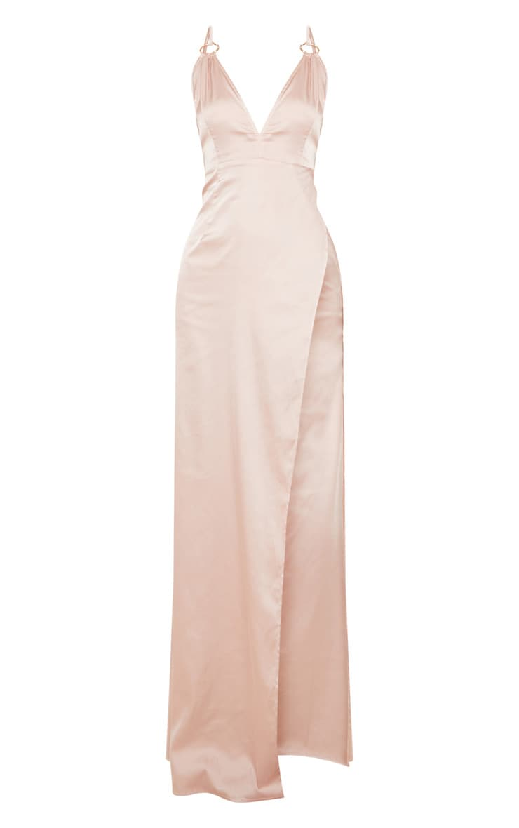 Champagne Ring Detail Extreme Plunge Maxi Dress  3