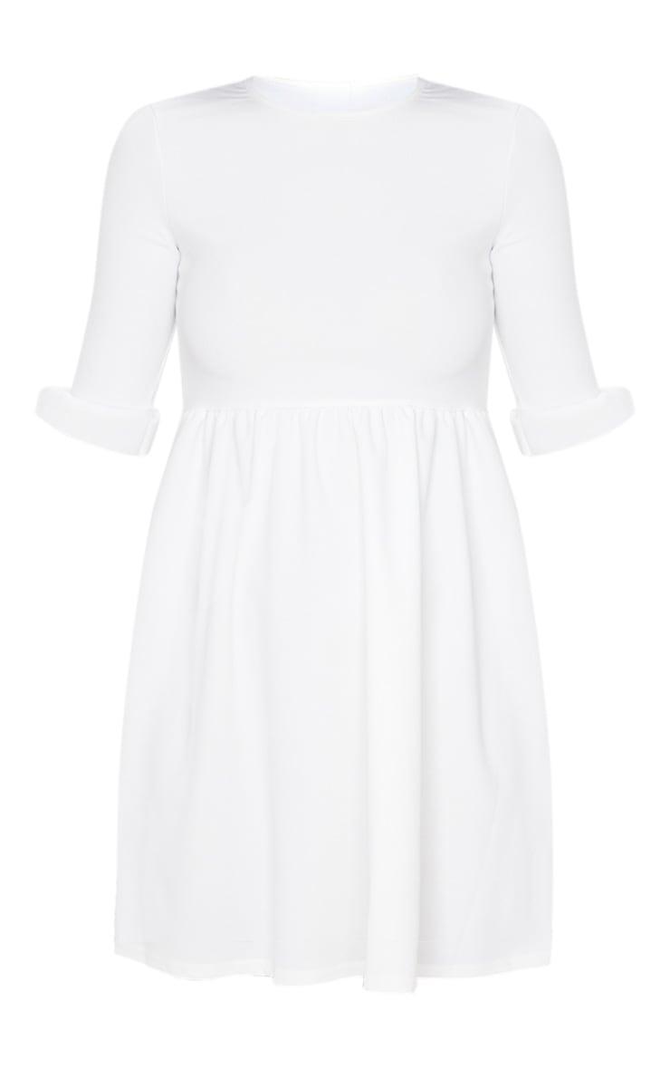 White Frill Sleeve Detail Rib Smock Dress 3