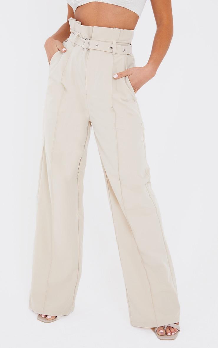 Petite Stone Wide Leg Paperbag Pants 2