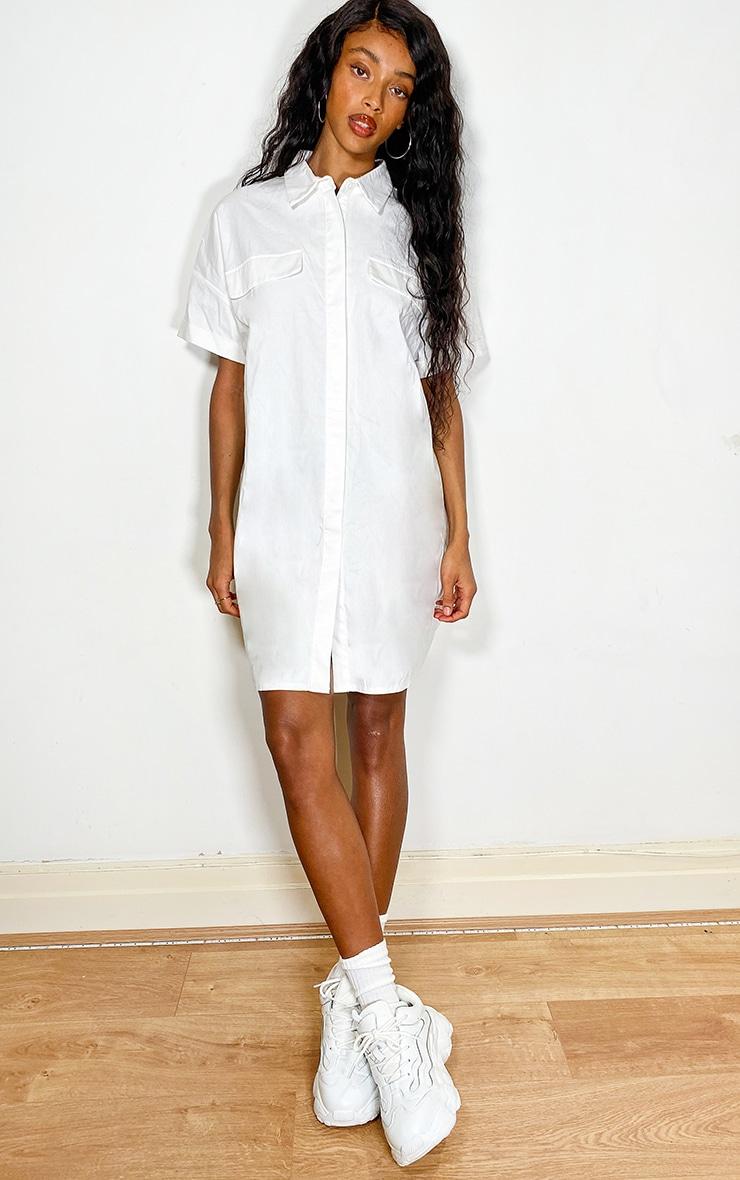 White Oversized Utility Shirt dress 1