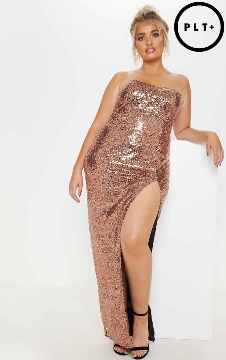 Plus Bronze Bandeau Sequin Split Front Maxi Dress 1