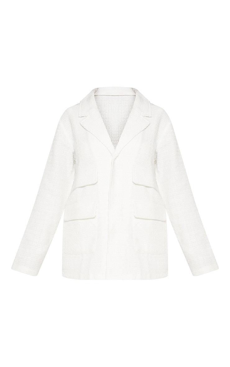Petite White Boucle Longline Jacket 3