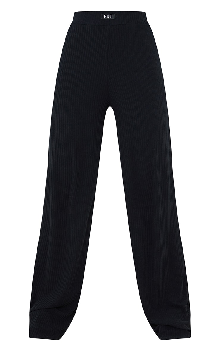 PRETTYLITTLETHING Black Badge Detail Rib Wide Leg Trousers 5