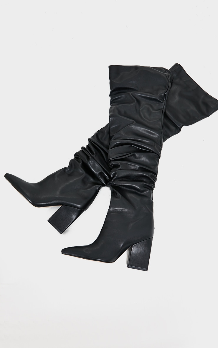 Black Western Slouch Over The Knee Boots 3