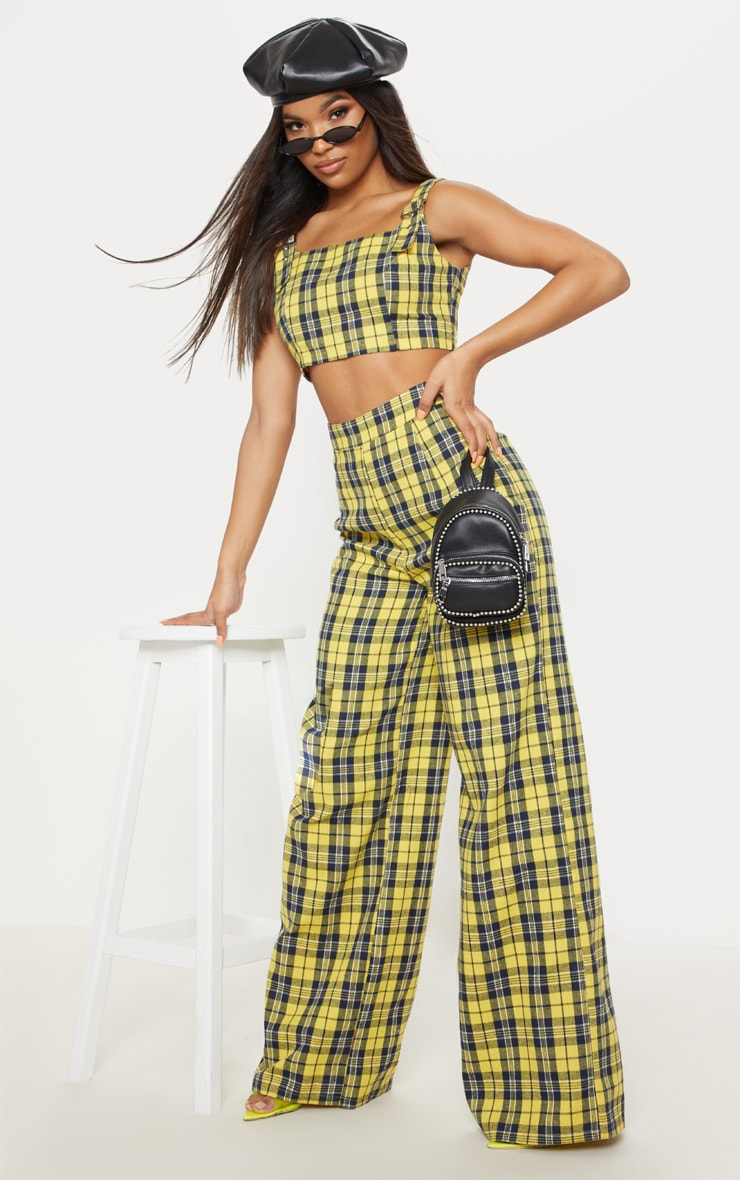 Mustard Buckle Strap Check Crop Top 4