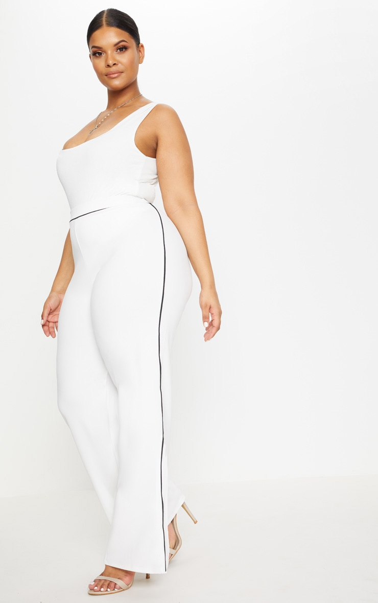 Plus White Contrast Seam Detail Wide Leg Trousers 1